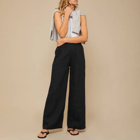 N°· Eleven Black Linen Paperbag Trouser