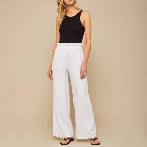 N°· Eleven White Linen Paperbag Trouser