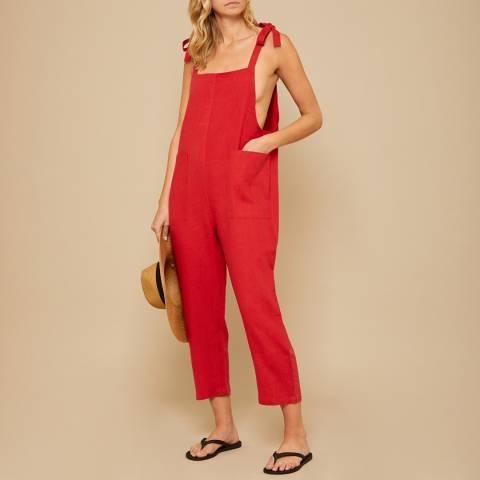 N°· Eleven Red Linen Jumpsuit
