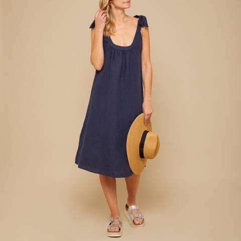 N°· Eleven Navy Linen Tie Shoulder Dress