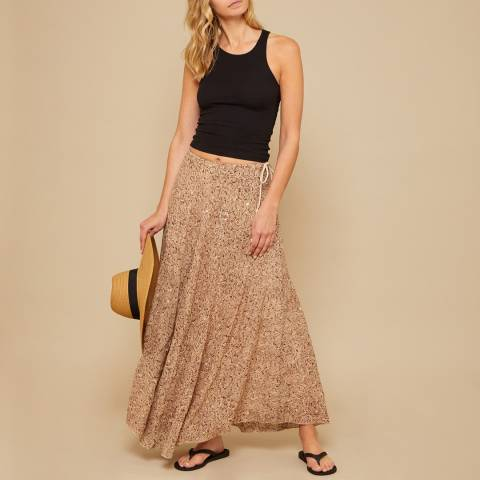N°· Eleven Cream / Brown Snake Print Sequin Maxi Skirt