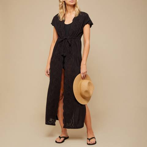 N°· Eleven Black Cotton Broderie Anglaise Cover Up