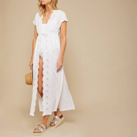 N°· Eleven White Cotton Broderie Anglaise Cover Up