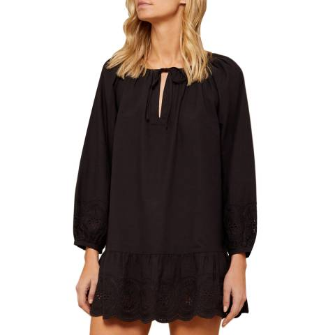 N°· Eleven Black Cotton Broderie Anglaise Tunic