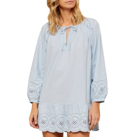 N°· Eleven Soft Blue Cotton Broderie Anglaise Tunic