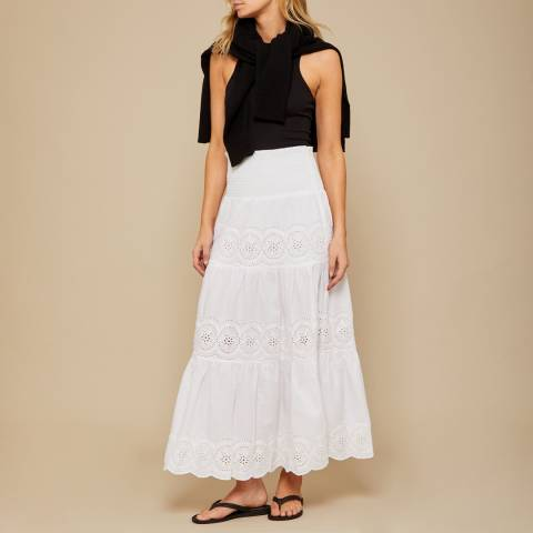 N°· Eleven White Cotton Broderie Anglaise Maxi Skirt