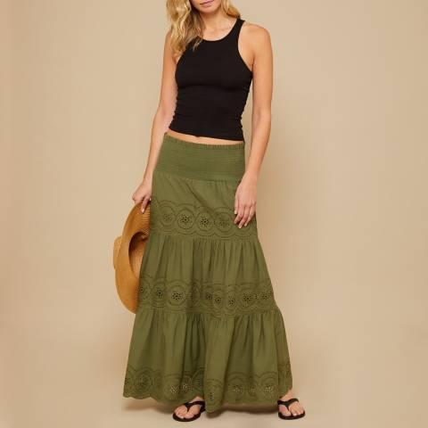 N°· Eleven Khaki Cotton Broderie Anglaise Maxi Skirt