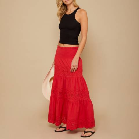 N°· Eleven Red Cotton Broderie Anglaise Maxi Skirt