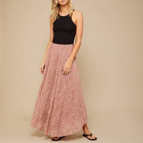 N°· Eleven Dusty Melon Tile Print Sequin Maxi Skirt