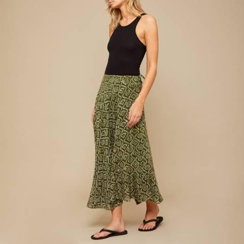 N°· Eleven Khaki Tile Print Sequin Maxi Skirt
