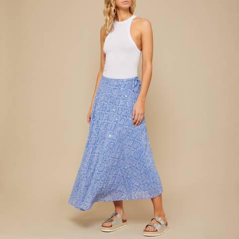 N°· Eleven Blue Tile Print Sequin Maxi Skirt