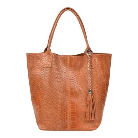Renata Corsi Cognac Leather Shoulder Bag