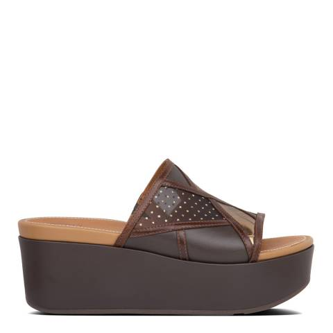 FitFlop Chocolate Brown Mix Eloise Art Deco Slides
