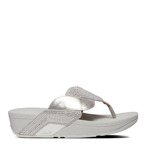 FitFlop Silver Paisley Glitter Rope Toe Thong Sandals