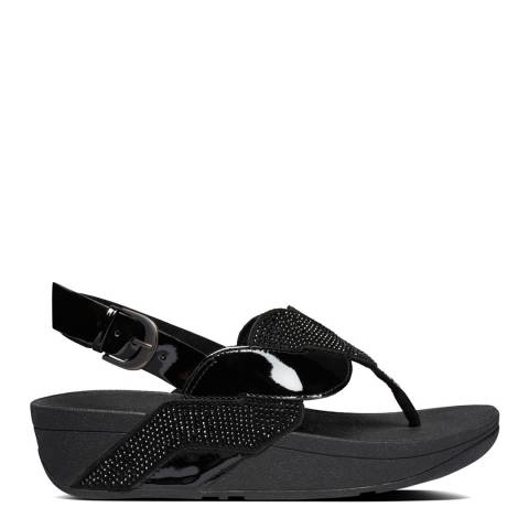 FitFlop All Black Paisley Glitter Rope Back Strap Sandals