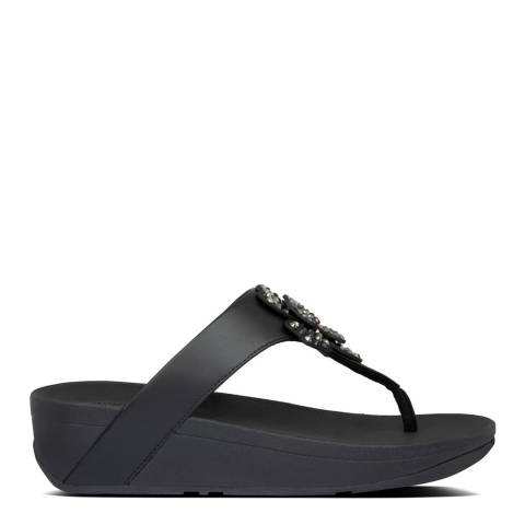FitFlop All Black Lottie Corsage Toe Thong Sandals