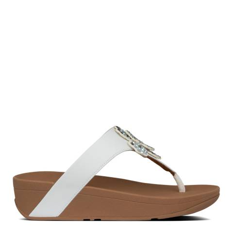 FitFlop Urban White Lottie Corsage Toe Thong Sandals