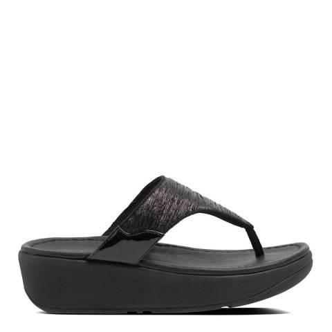 FitFlop All Black Myla Glitz Toe Thong Sandals
