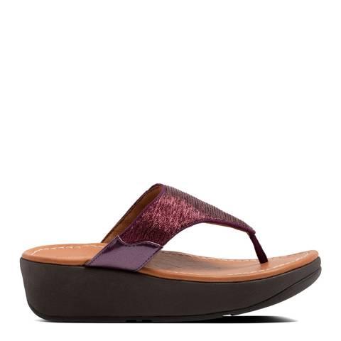 FitFlop Beetroot Myla Glitz Toe Thong Sandals