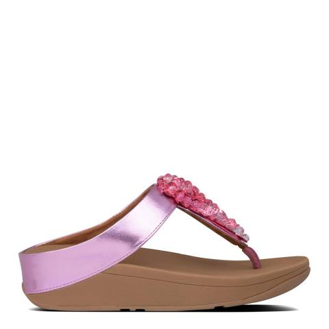 FitFlop Heather Pink Fino Sequin Toe Thong Sandals