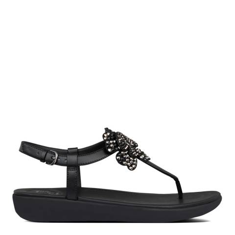 FitFlop All Black Tia Corsage Back Strap Sandals