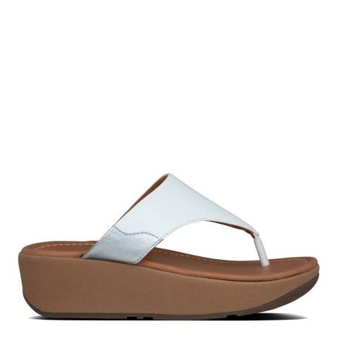 FitFlop Urban White/Silver Myla Leather Toe Thong Sandals