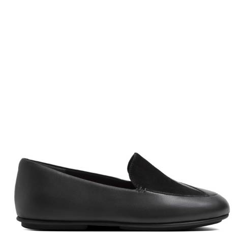 FitFlop All Black Lena Lizard Embossed Loafers
