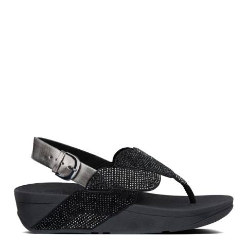 FitFlop All Black Paisley Rope Back Strap Sandals