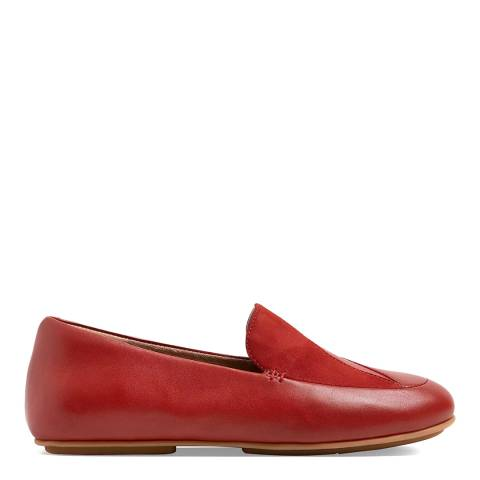 FitFlop Brick Red Lena Lizard Embossed Loafers