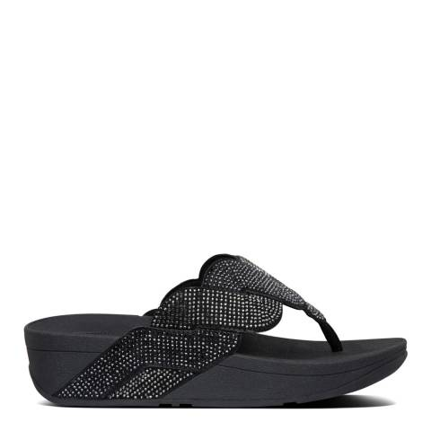 FitFlop All Black Paisley Rope Toe Thong Sandals