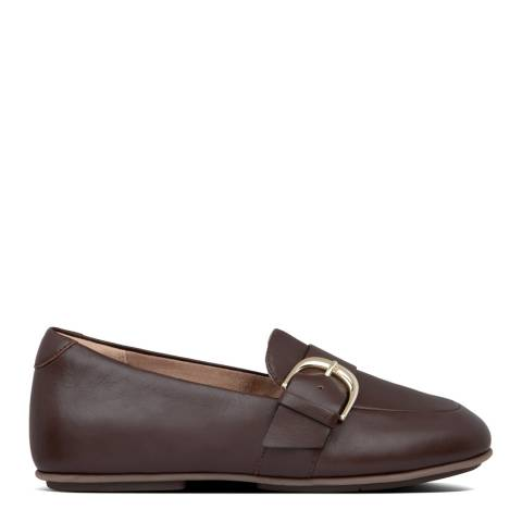 FitFlop Chocolate Brown Lisbet D Buckle Leather Loafers