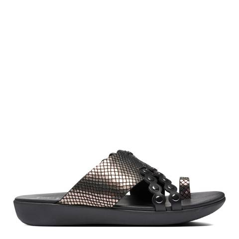 FitFlop All Black Scallop Exotic Slides