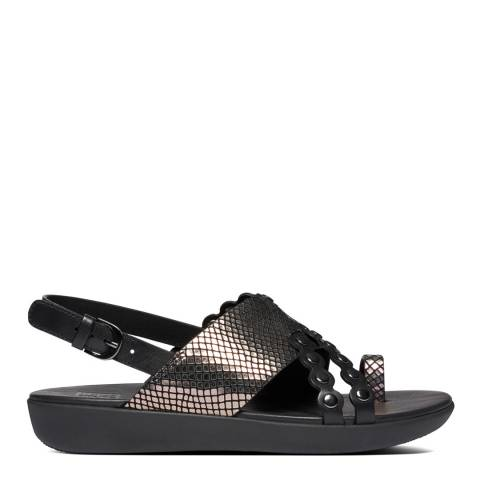 FitFlop All Black Scallop Exotic Back Strap Sandals
