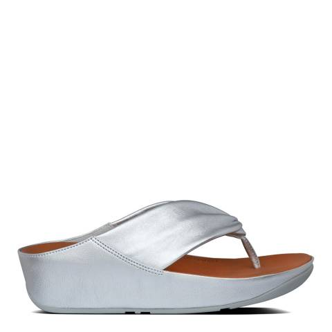 FitFlop Silver Twiss Leather Toe-Post Sandals