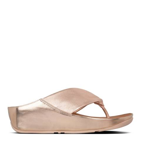 FitFlop Rose Gold Twiss Leather Toe-Post Sandals