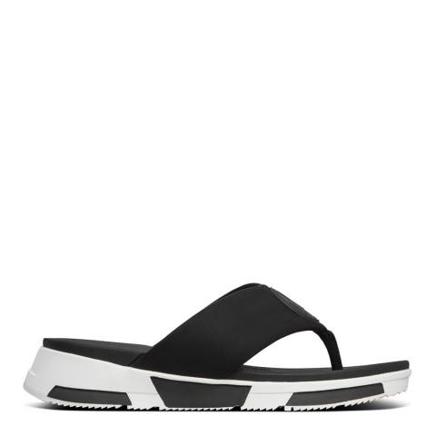 FitFlop Black Sporty Logo Toe Thong Sandals