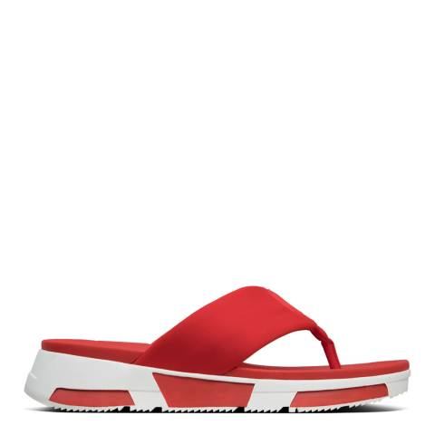 FitFlop Red Sporty Logo Toe Thong Sandals