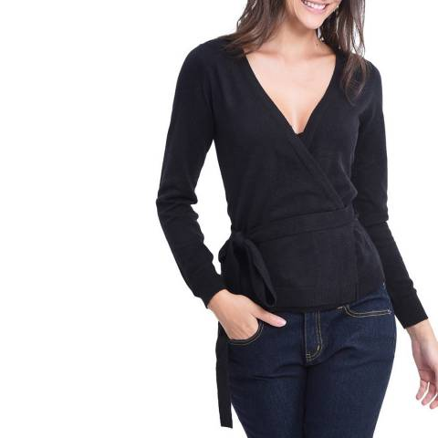 C & JO Black Cashmere Blend Wrap Jumper