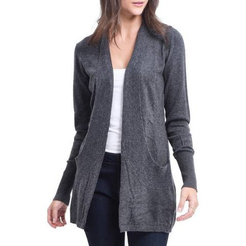 C & JO Charcoal Cashmere Blend Fitted Cardigan