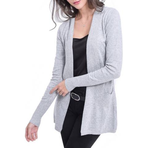 C & JO Grey Cashmere Blend Fitted Cardigan
