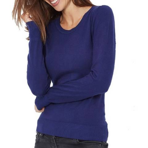 C & JO Navy Cashmere Blend Polo Jumper
