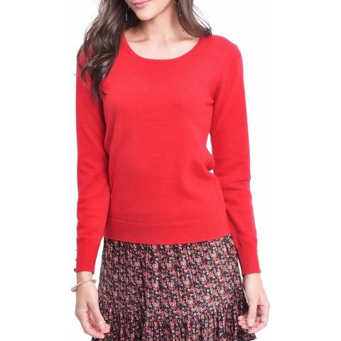 C & JO Red Cashmere Blend Winter Jumper