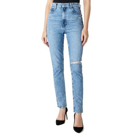 J Brand Blue 1212 Runway Destruct Straight Stretch Jeans