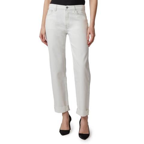 J Brand White Tate Boy Fit Stretch Jeans