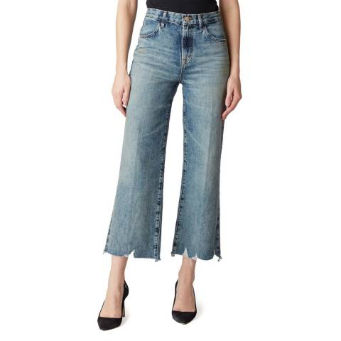 J Brand Blue Wash Joan Frayed Wide Stretch Jeans
