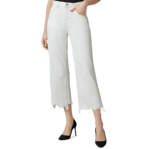 J Brand White Joan Cropped Wide Leg Stretch Jeans