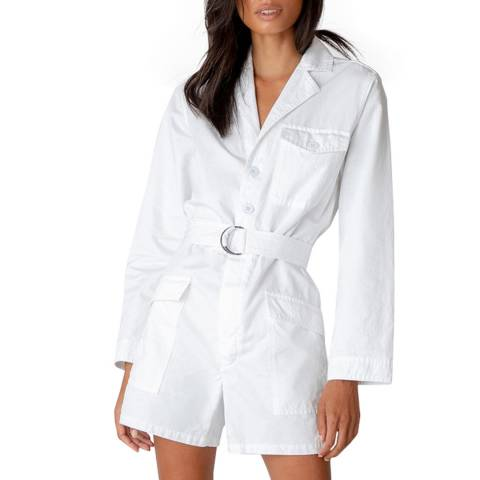 J Brand White Naomi Denim Playsuit