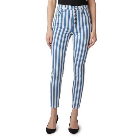J Brand Blue/White Stripe Lillie Skinny Stretch Jeans