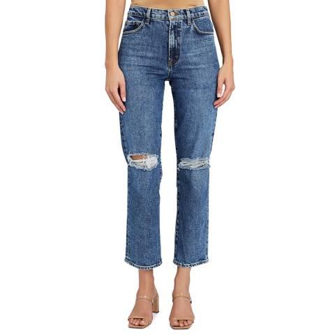 J Brand Mid Blue Jules Destruct Straight Stretch Jeans