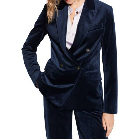 Vince Navy Velvet Fitted  Blazer